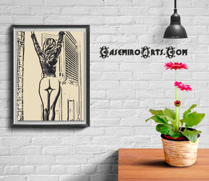 Sexy, Erotic Art 200gsm poster - Morning Dear... Semi nude girl stretching