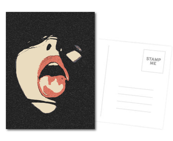 Naughty Postcard, Greeting Card, Photo Card - Mouth open and ready