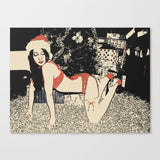 Erotic Art Canvas Print - Naughty Santa's Wife, sexy girl in lingerie, christmas theme