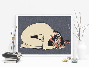 Kinky Erotic Art 200gsm poster - Owned submissive blonde, sub girl posing