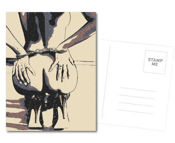 Naughty Postcard, Greeting Card, Photo Card - Fetish booty view, sexy cuffed submissive