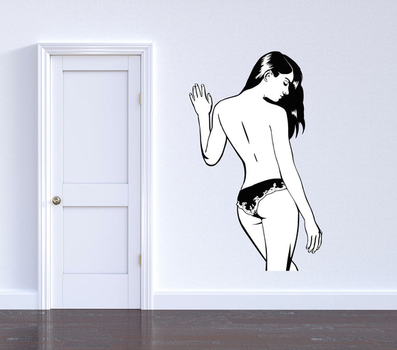 Reusable Vinyl Wall Decals - Simply sexy, perfect brunette girl in lingerie