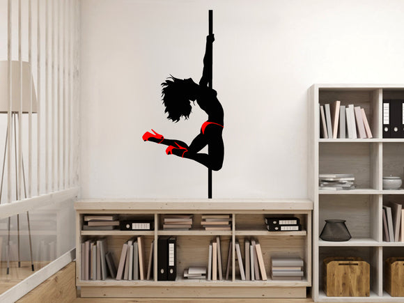 Reusable Vinyl Wall Decals - Topless pole dancer silhouette, sexy girl dancing