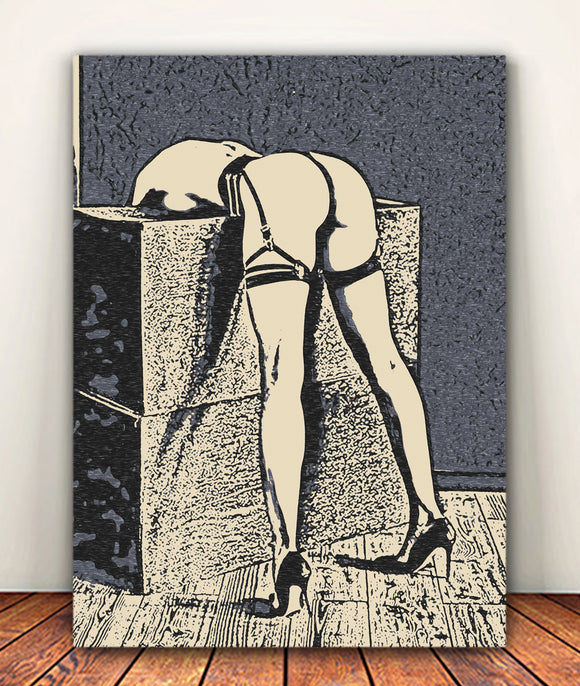 Fetish Erotic Art Canvas Print - Waiting for Dom's return, like a good girl