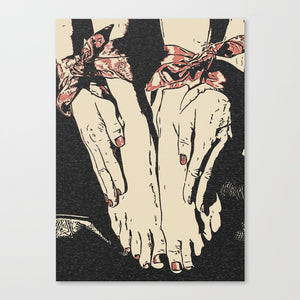 Erotic Art Canvas Print - Dirty BDSM games, red ribbons, feets fetish