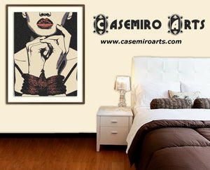 Fetish Erotic Art 220gsm poster - Red Lips Beauty, sexy girl tied up