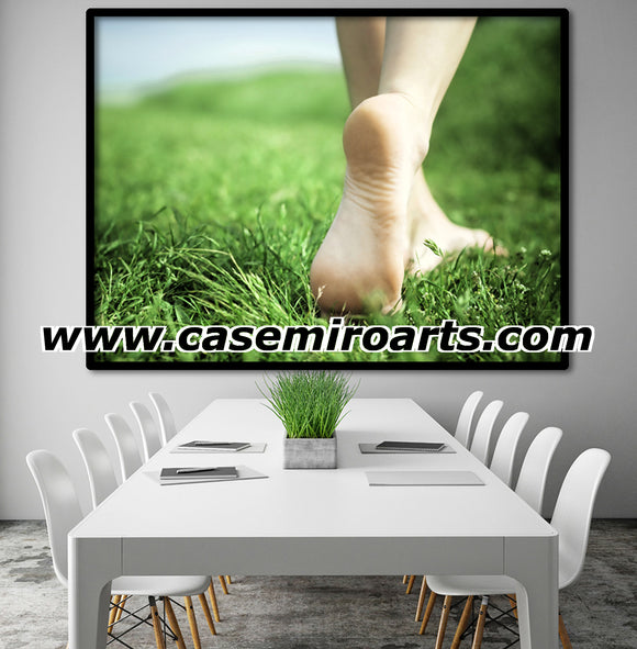 Sexy, Erotic Art 200gsm poster - Sensual walk at the grass, girls feet