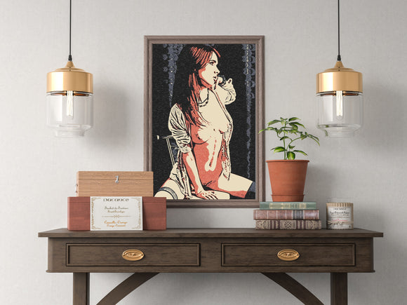 Sexy Art 200gsm poster - Waiting for her lover, beautiful redhead girl