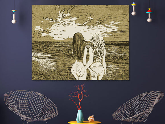 Sexy Lesbian Art 200gsm poster - Girls at the beach, sunset over ocean