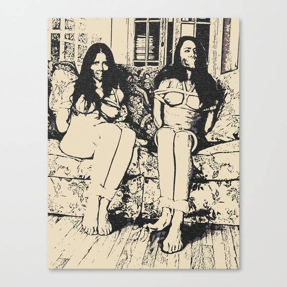 Erotic Art Canvas Print - Slaves in stereo, sexy black and white fetish sketch