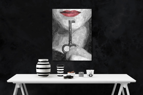 Sexy Art Canvas Print - Submission in black - Shhh... BDSM erotic