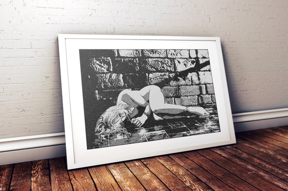 Erotic Art 200gsm poster - In Master's Den, erotic nude poster, sexy slave girl artwork, hardcore fetish fantasy