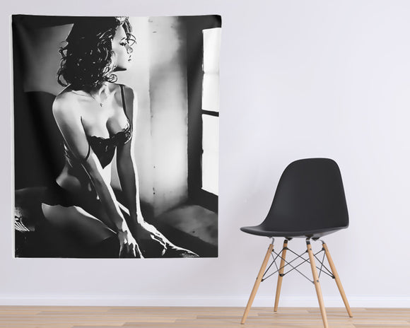 Indoor Wall Tapestries - Perfection in form of Woman - Sensual BW