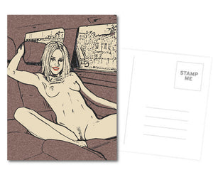 Sexy Postcard, Greeting Card, Photo Card - Beauty loves to show off in car