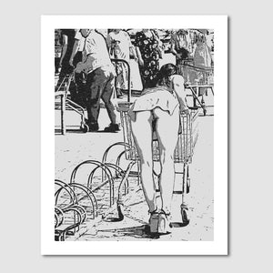Giclée art print, Gallery quality - Camel at market parking ;) Voyeur fun