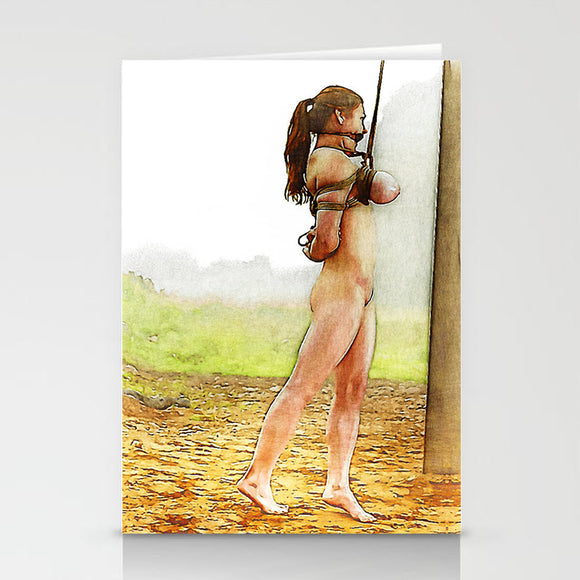 Fetish Erotic Postcard, Greeting Card, Photo Card - Busty pet girl at daily walk