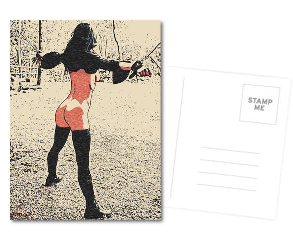 Kinky Postcard, Greeting Card, Photo Card - Slave at outdoors display