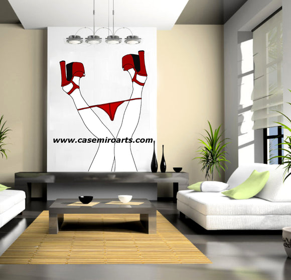 Reusable Vinyl Wall Decals - Dirty upside down, sexy red panties and platforms