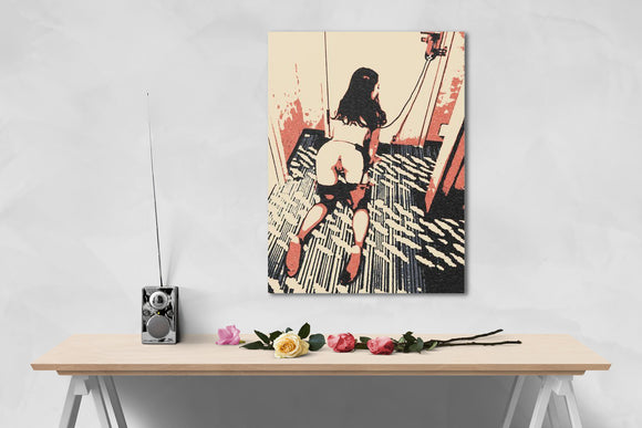 Erotic Art Canvas Print - Good Pet on her place, knees, fetish artwork