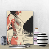 Sensual Erotic Art Canvas Print - Naughty in the water, sexy girl bathing in a lake