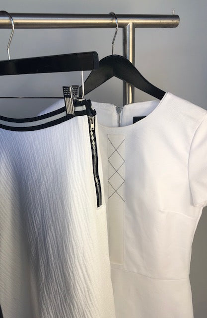 Vertical X Dress - White Pique