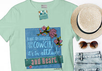 cowgirl attitude graphic teeshirt - wholesale digital dtg ink printed wholesale cowgirl teeshirt