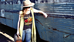rose printed graphic teeshirt and tanktop, boho western style