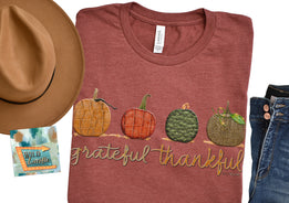 grateful thankful pumpkins clay rust unisex women's wholesale graphic print teeshirts from wild lucille apparel