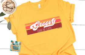 groovy kind of love, retro 70's wholesale women's graphic teeshirts