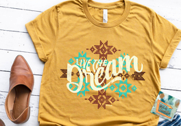live the dream mustard aztec western inspired women's wholesale graphic teeshirt