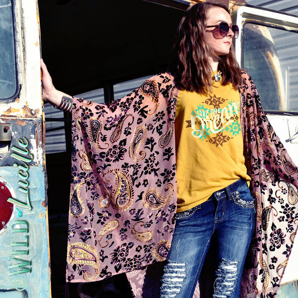 mustard colored boho western womens graphic tee