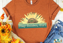stay golden girl autumn sunflower graphic teeshirt, wholesale apparel Wild Lucille Apparel