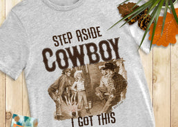Step Aside Cowboy - women's wholesale graphic teeshirts from Wild Lucille Apparel. Original DTG screenprint teeshirts wholesale