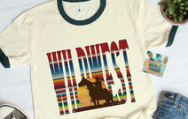 wildwest cowboy serape womens graphic teeshirts wholesale - cowboy cowgirl texas oklahoma aztec cowgirl farm