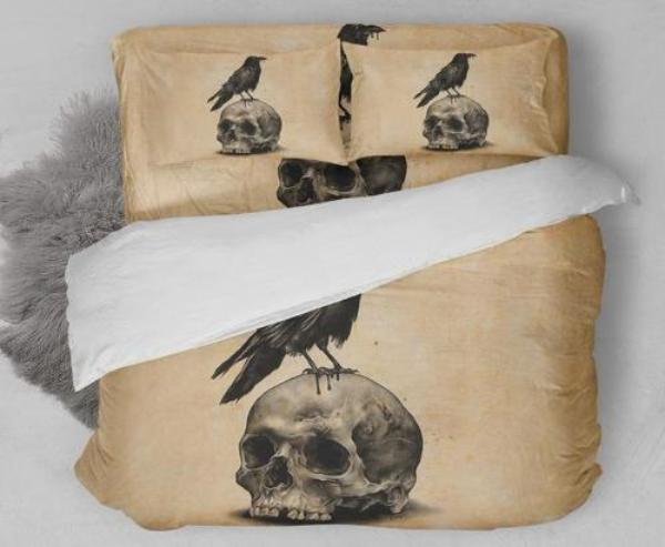 3D Crow on the Skull Print Duvet