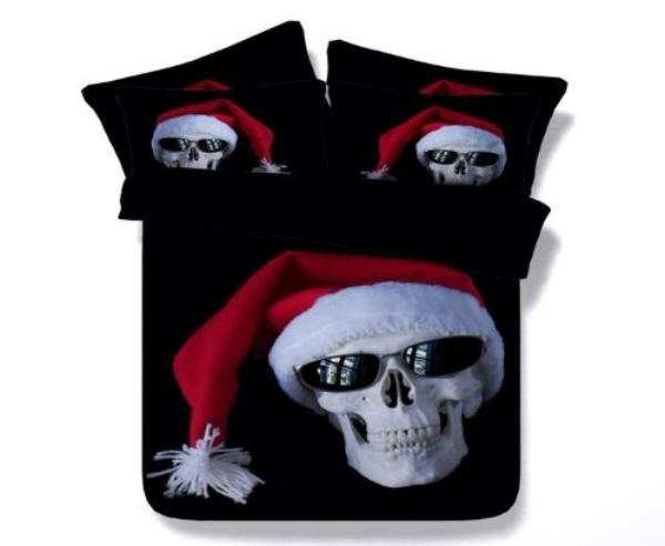 3D Christmas Skull Bedding Set