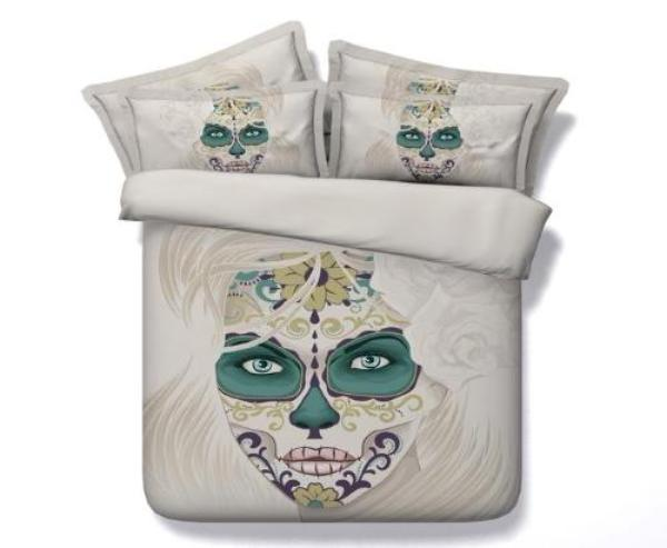 100% Cotton  Pure Sugar Skull 3D Printed Bed Set