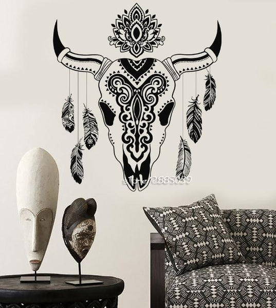 Animal Skull Bull Feathers Wall Stickers