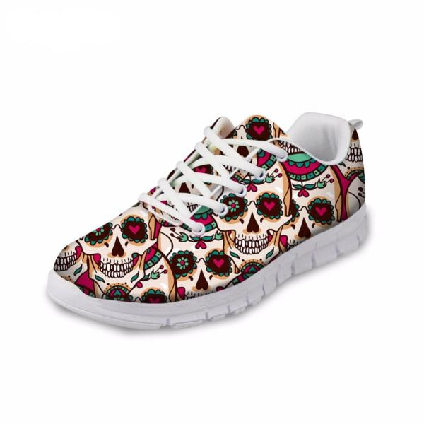 Casual Flats Skull Flower Printed Sneakers