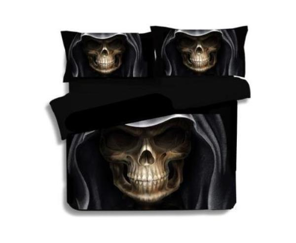 3D Black Skull Print Duvet Cover Set
