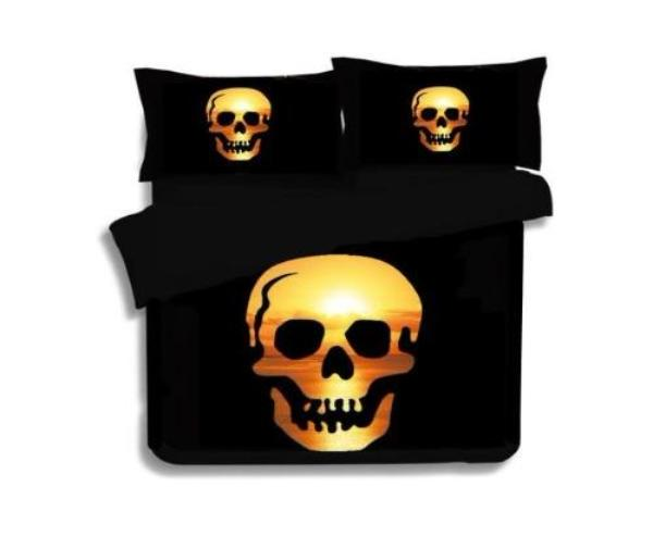 3D Gold Skull Print Duvet Cover Set