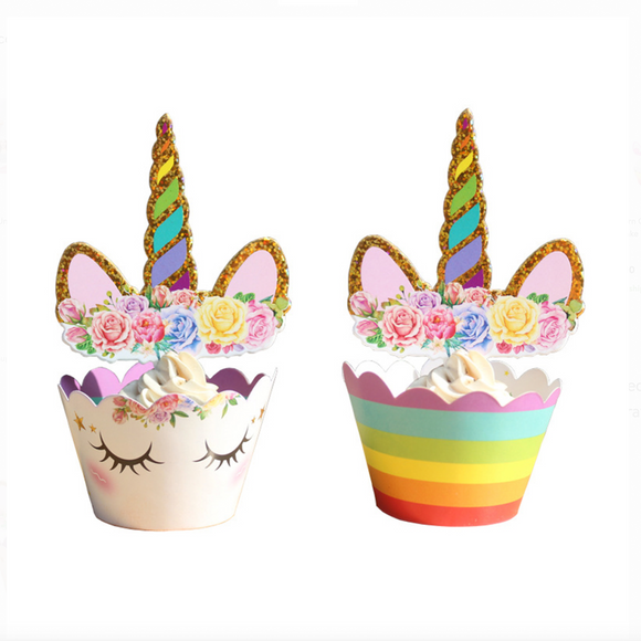 Set of 12 Unicorn Cupcake Toppers & Wrappers