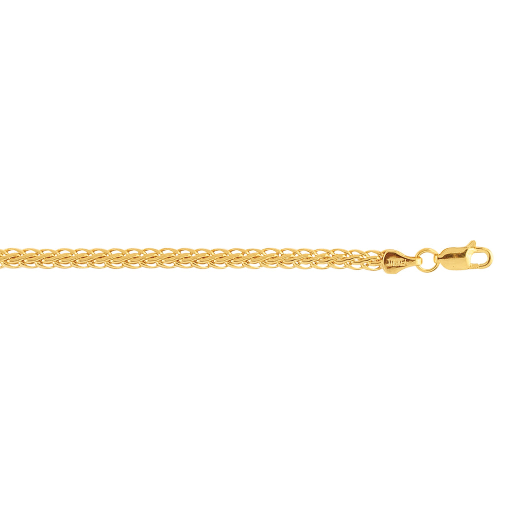 10K 7.25 inches Yellow Gold Flat Wheat Chain Ladies Fancy Bracelet with Lobster Clasp