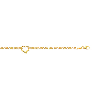 10K Yellow Gold Double Rolo Chain Anklet with Open Heart