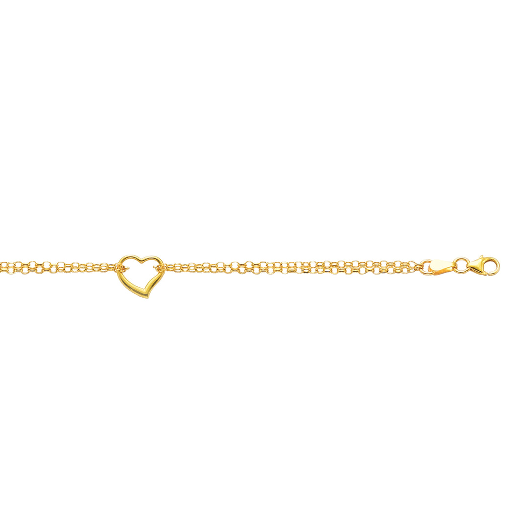10K 10 inches Yellow Gold 10 inches Shiny Double Rolo Chain Anklet+1 Station Open Heart with Lobster Clasp