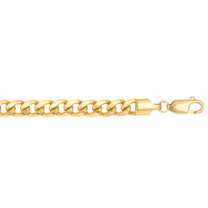 10K YG 24 inches 5.5mm Lite Miami CURB Necklace with Lobster Lock.