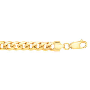 10K YG 24 inches 6mm Lite Miami CURB Necklace with Lobster Lock.