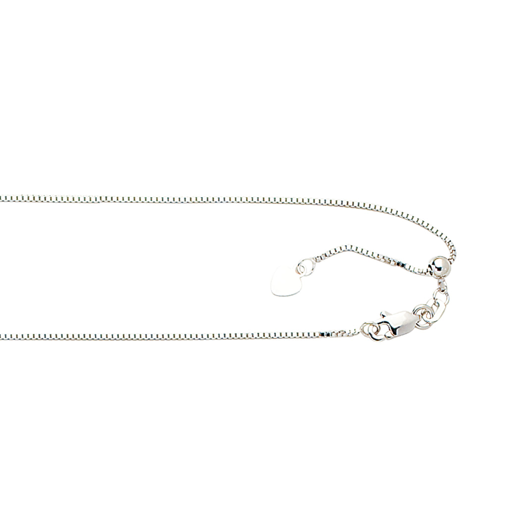 10K 22 inches White Gold 0.85mm Shiny Classic Adjustable Box Chain with Lobster Clasp