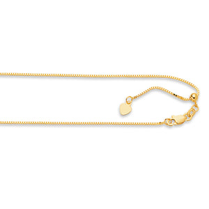 14kt 22 inches Yellow Gold .85mm Diamond Cut Adjustable Box Chain with Lobster Clasp