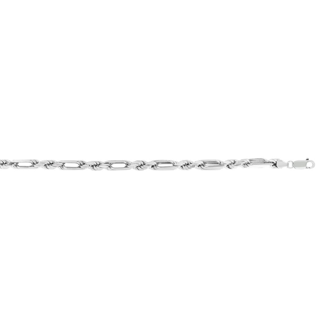 Silver 24 inches with Rhodium Finish 6mm Diamond Cut Milano Figarope Chain with Lobster Clasp
